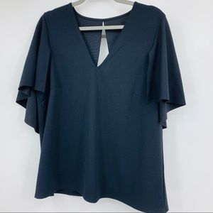 ASOS blouse size 12 v neck draped keyhole business
